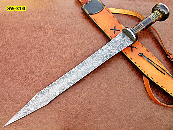 Sw-310, Handmade Damascus Steel 27 Inches Sword - Solid Doller Sheet Handle with Damascus Steel Guard