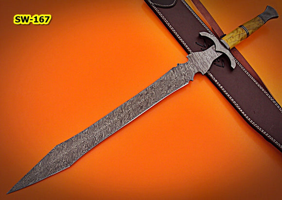 SW-167, Handmade Damascus  Steel 29 Inches Sword - Beautiful Apricots Wood Handle with Damascus Steel Guard