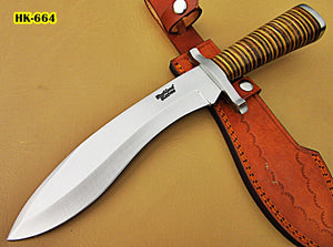 REG-HK-318, Handmade Hi Carbon Steel 15 inches Hunting Knife - Beautiful Three Tone Micarta Handle