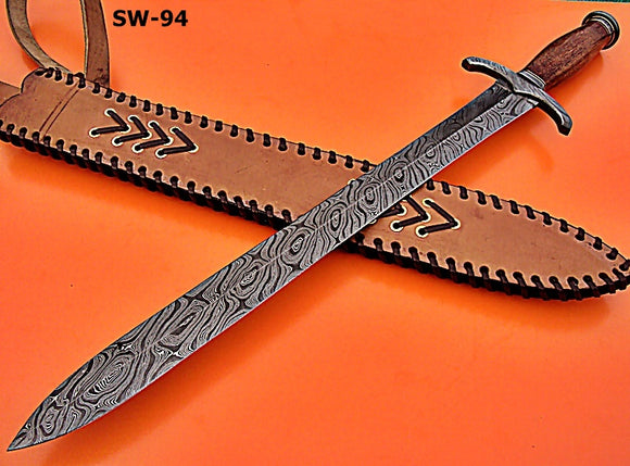 SW-94 (331), Handmade Damascus Steel 25 Inches Viking Sword - Great Piece of Art