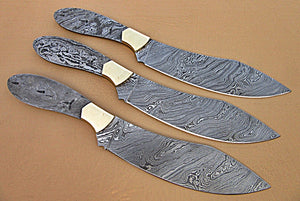 LOT-BBC-661,  Handmade Damascus Steel 12 Inches Full Tang Chef Knife Set with Brass Bolsters
