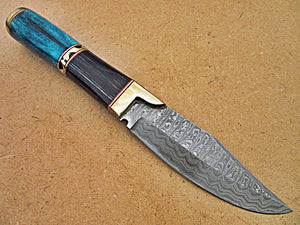 HK-281, Handmade Damascus Steel 10.2 Inches Knife - Stunning Exotic Handle