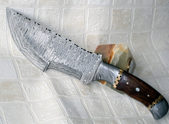 TR 57 12.00 Inches Full Tang Damascus Steel Tracker Knife - Stunning and Durable