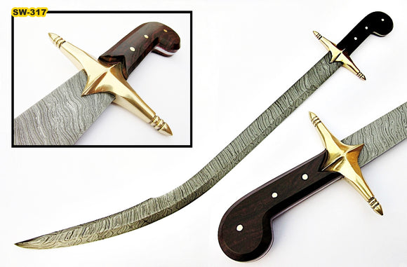 Sw-317, Handmade Damascus Steel 35.00 Inches Turkish Kilij Style Sword - Beautiful Rose Wood Handle with Brass Guard