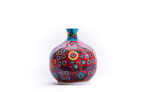 LALEZAR - IZNIK RED FLORAL PATTERN POMEGRANATE VASE