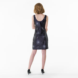 Form fitting starry night polyester nylon bodycon dress for spring and summer.