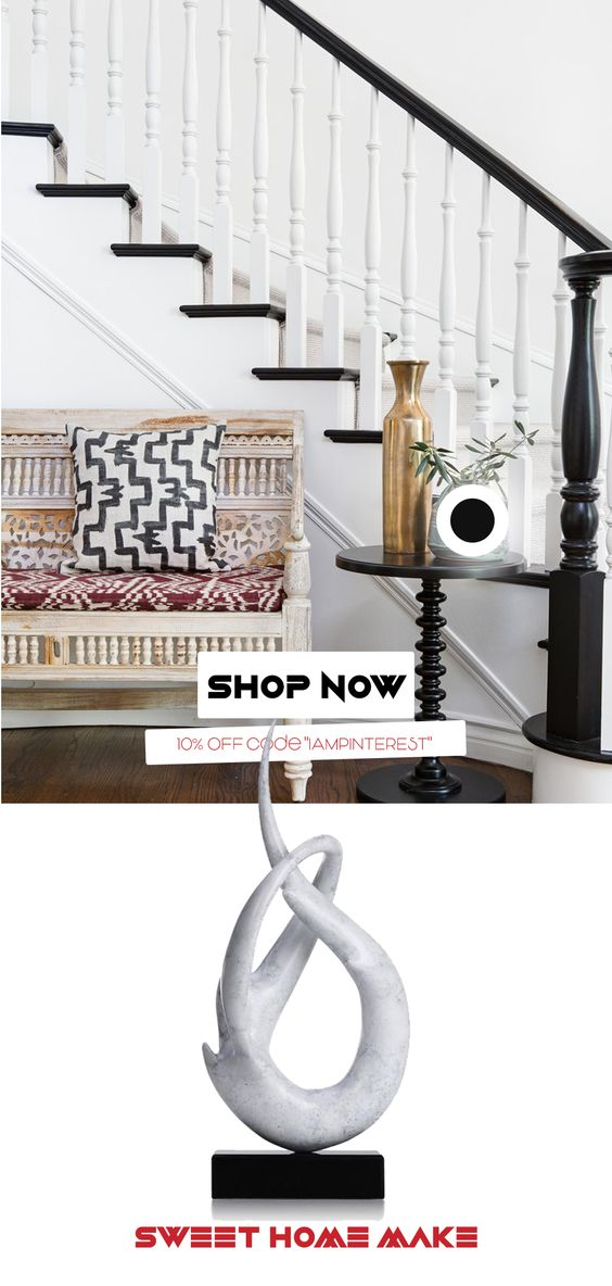 Entryway Black End Tables White Sculpture Decoration