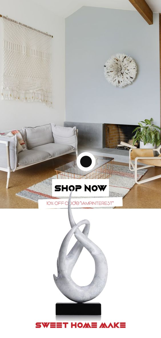 Minimal Living Room Coffee Tables Decor White Sculpture