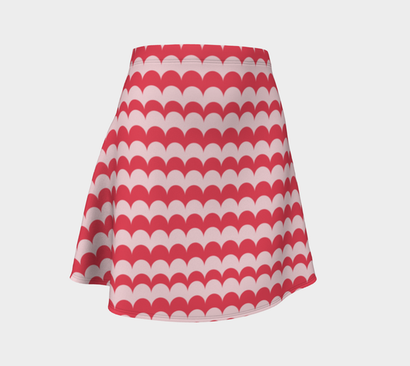 Pink Scallop Print Flare Skirt