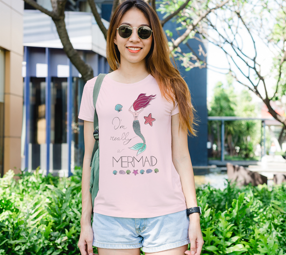 I'm Really a Mermaid Women's Fitted Tee