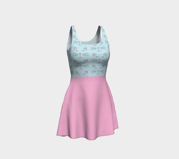 Pretty Kitty Flare Dress with Pink Skirt
