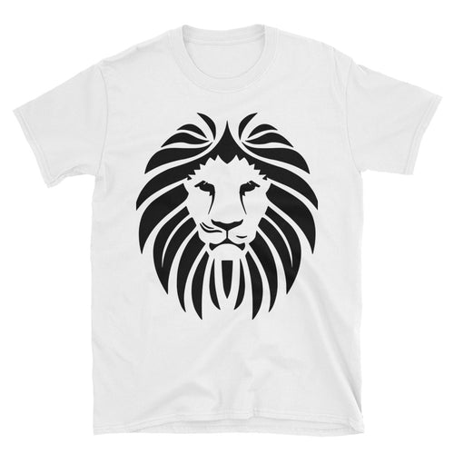 Lion Short Sleeve Round Neck White 100% Cotton T-Shirt for Men - FlorenceLand