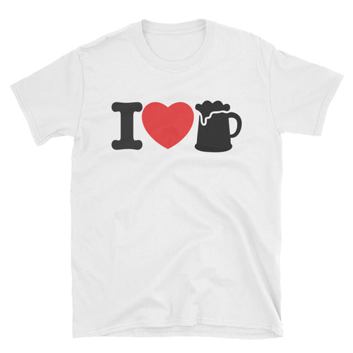 I Love Beer T Shirt  White Beer Lover T Shirt Cotton for Men - FlorenceLand