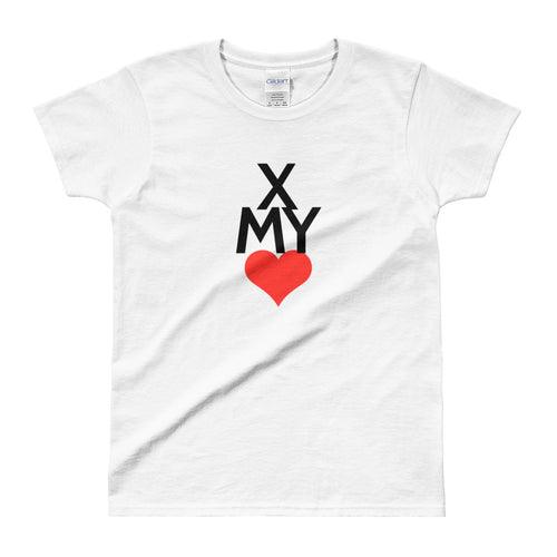 Cross My Heart T Shirt White Valentines Day T Shirt for Women - FlorenceLand