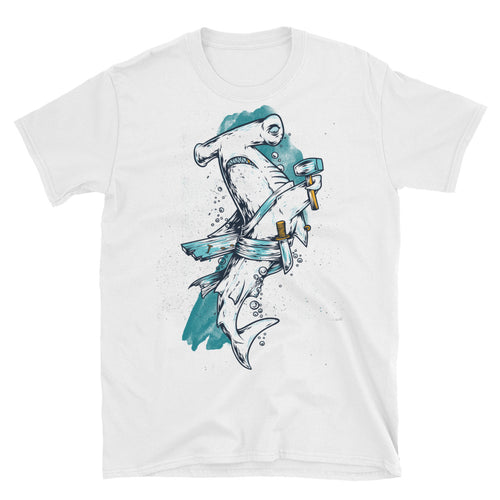 Shark Short Sleeve Round Neck White 100% Cotton T-Shirt for Men - FlorenceLand