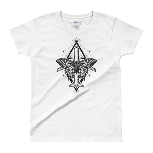 Magic Moth Butterfly And Plane Tattoo Design White T Shirt for women - FlorenceLand