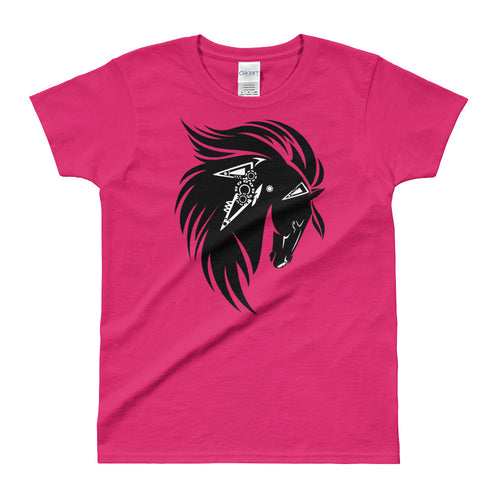 Stallion Printed Short Sleeve Round Neck Pink 100% Cotton T-Shirt for Women - FlorenceLand
