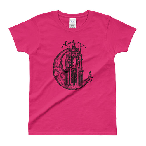 Medieval Castle On Moon Tattoo Design T Shirt Pink for Women - FlorenceLand