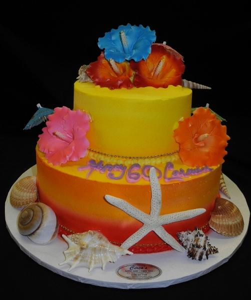 Hawaiian Theme Cake - B0613