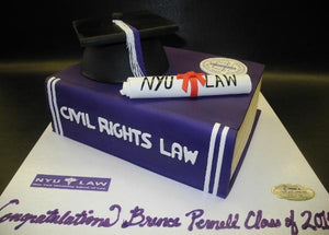 Graduation Book with Cap and Diploma Fondant Cake