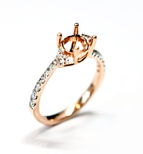 Diamondaire 3 Stone Engagement Ring in 14kt Rose Gold