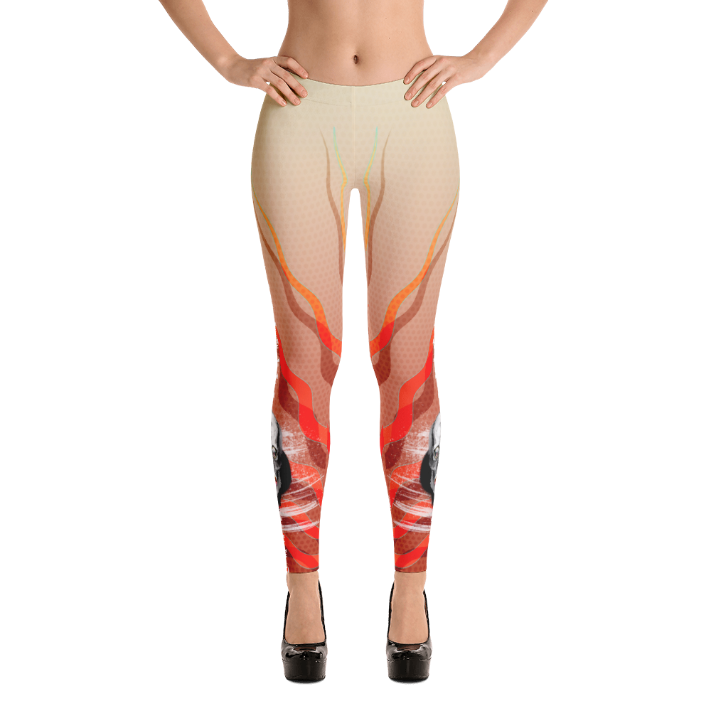 Serqet Scorpion Goddess Skull Flames - Yoga Dance Pilates Leggings