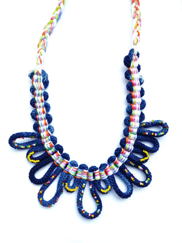 hand woven beaded indigo bib necklace