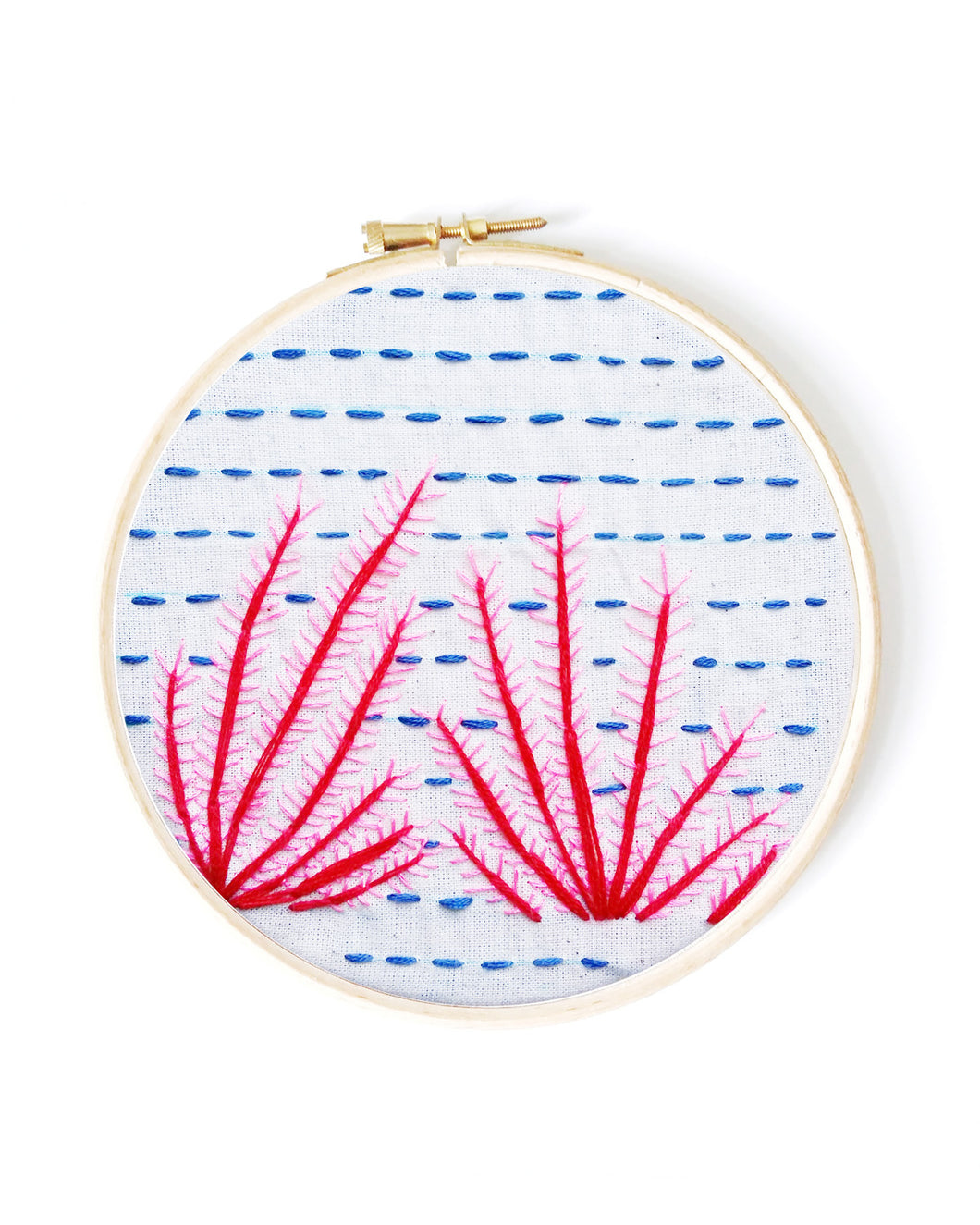 hand embroidery Red Coral Pattern for Beginners
