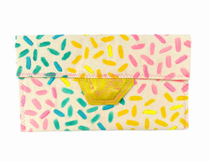 happy summer hand painted clutch