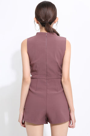 Sleeveless Belted Playsuit 1549 - ample-couture