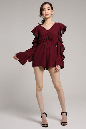 Ruffled Long Sleeve Jumpsuit 2078 - ample-couture