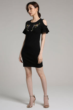 Embroidery Cutout Shoulder Dress 2140 - ample-couture
