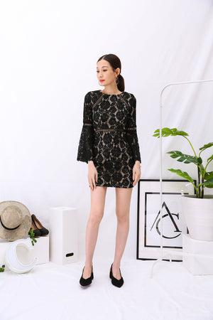 Lace Bell Sleeves Dress 2950 - ample-couture