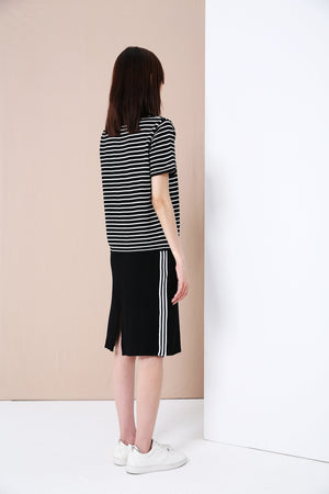 Striped Knit Top with Back Slit Skirt Set 3374 - ample-couture