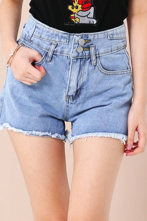 High Waist Denim Shorts 3346 - ample-couture