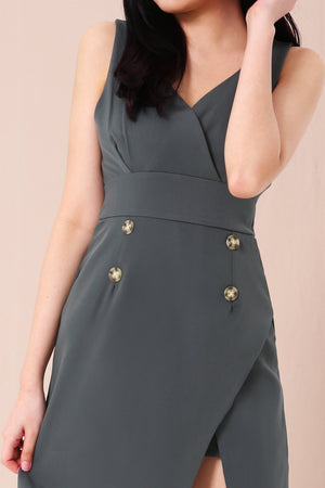 Button Detail Dress 3403 - ample-couture