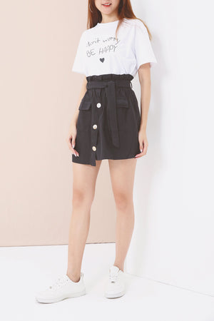 Alphabet Tee with Button Detail Skirt 3533 - ample-couture