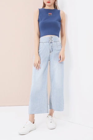 Wide Leg Denim Pants 3534 - ample-couture