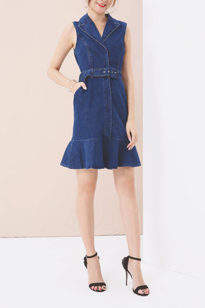 Ruffled Denim Dress 3561 - ample-couture