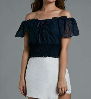 Off Shoulder Cross Top 0584 - ample-couture