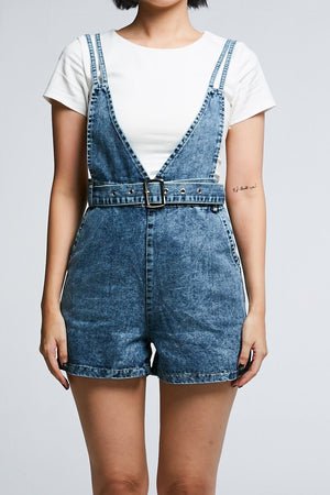 Denim Cross Playsuit 0646 - ample-couture