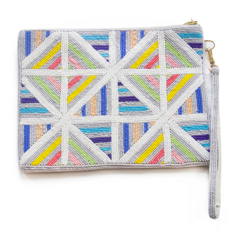 Luxury artisan hand-crafted beaded clutch from David David, award winning London designer of bold geometric prints for fashion and the home.  Beautiful accessories rooted in fine art and design.