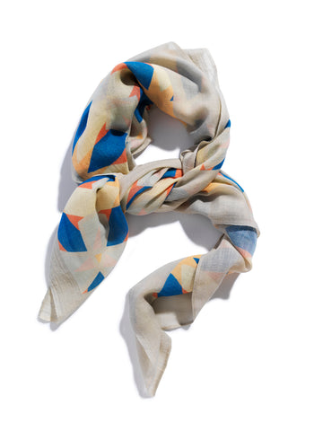 Luxury silk and cashmere scarf by David David, a fashion accessories brand and print studio based in London England, specialising in bold geometric print