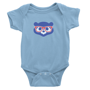 baby blue onesie with madden glasses logo