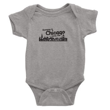 Heather Grey Onesie with Someone in Chicago Loves me printed in black