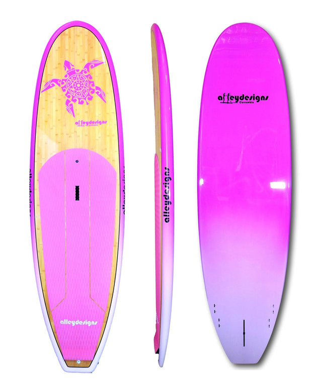 "9'6""x 31""Dark Bamboo Deck Pink Turtle, Rails & Underside Classic SUP - Alleydesigns SUP's SURF & SNOW GEAR"
