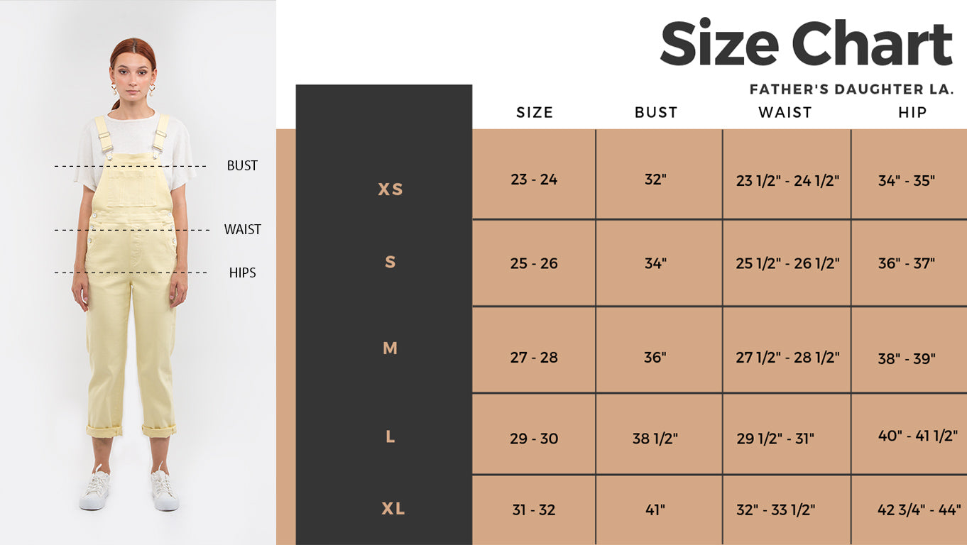 Official Father's Daughter Size Chart