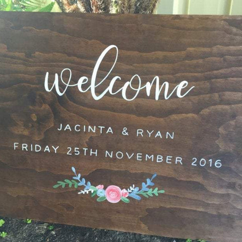 Wedding Welcome Walnut Stain Wooden Sign