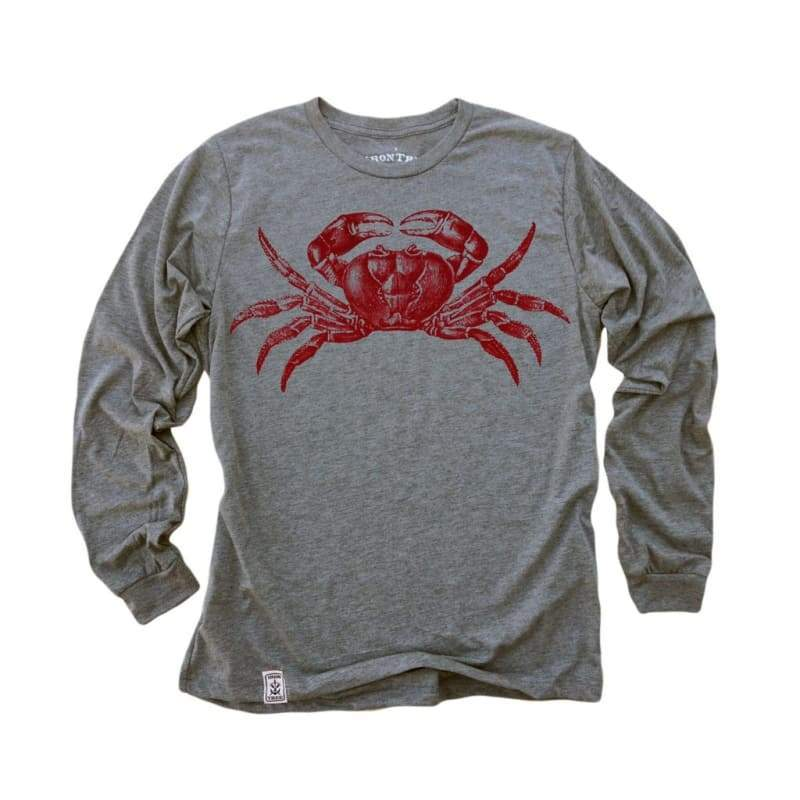 Men - Apparel - Shirts - T-Shirts Red Crab: Tri-Blend Long Sleeve T-Shirt in Heather Grey Fashion Madness