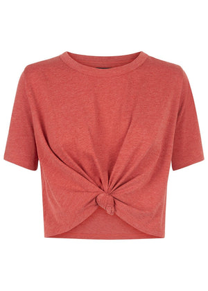 Girls Red Cropped T-shirt With Front Knot - Front
